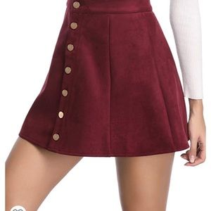 Red suede button up mini skirt